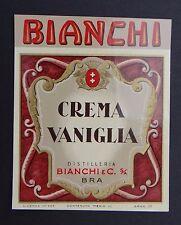 Ancienne étiquette CREMA VANIGLIA Bianchi & Cie TORINO Italie label
