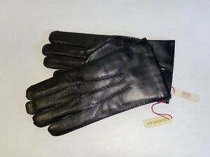 Genuine Dents leather gloves - with lambswool lining-Black
