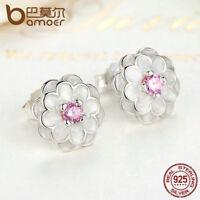 BAMOER 100% Sterling Silver Stud Earrings Enamel Spring Flower For Women Jewelry