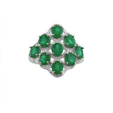 Emerald Green Classic Natural Zambian Sterling Silver 14k White Gold Ring