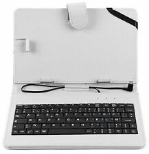 White Faux Leather Case for Dell Venue 8 3000 Series with AZERTY French Keyboard