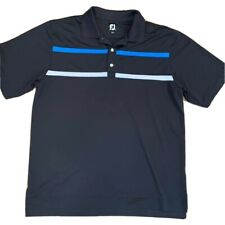FootJoy Mens Golf Polo Shirt Black Blue White Stripe Activewear Short Sleeve L