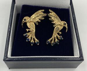 Unusual Eyecatching 9ct Yellow Gold And Sapphire Hummingbird Stud Drop Earrings