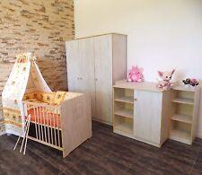 Chambre de Bébé Complet Armoire Lit 5 Couleurs Commode à Langer Regal Blanc Rose