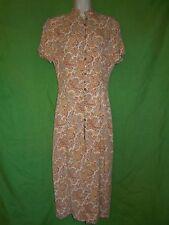 Vantana dress shift full length maxi short sleeve lined multi color rayon size 4