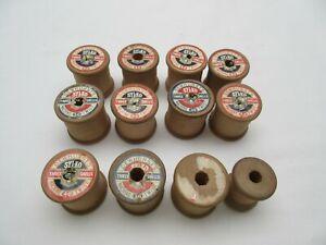 11 vintage empty wooden Sylko cotton reels
