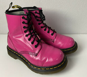 DR. MARTENS WOMEN'S PATENT LEATHER HOT PINK 1460 W BOOTS - SIZE 5
