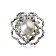18K WHITE GOLD PLATED & GENUINE AUSTRIAN CRYSTAL PEARL SCARF CLIP OR BROOCH