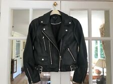 Zara TRF Trafaluc Black Faux Leather Biker Jacket Medium - RRP£49.99