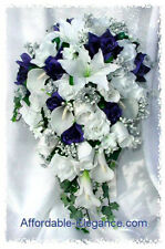 White & Blue FULL WEDDING SET ~ Roses Calla Lilies Silk Wedding Flowers Bouquet