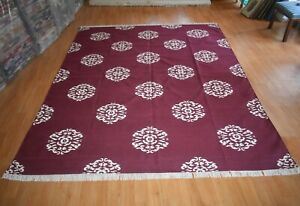 Maroon Color Mandala Design Cotton Large Rug 8x10 Ft Bedroom Carpet DN-2067