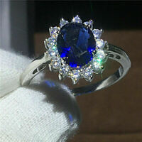 1.50 Ct Oval Sapphire & Diamond Cluster Halo Engagement Ring 14k White Gold Over