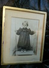 Original Framed Edwardian Photograph Young Girl, full length, period clothing
