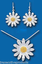 Sunflower Set Solid Sterling Silver Pendant and Drop Earrings Gold Detail