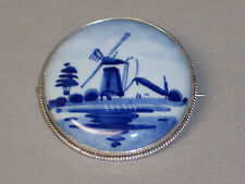 VINTAGE HANDMADE 835 SILVER DELFT PIN WITH C CLASP - SIGNED
