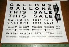 gas station Gasoline hose pump Original New NOS restoration decal sticker set