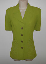 ~ Unique Woven Panel YUE TAI Green Blouse w/Notched Collar ~ Career ~ Casual ~ M