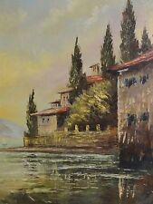 HILL - Gemälde 1950er Jahre: HÄUSER-ECKE IN GARDONE AM LAGO DI GARDA /Gardasee