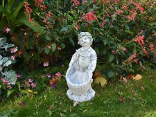 Massif Sculpture en Pierre Garçon Avec Corbeille à Fleurs Figurine Bacs à