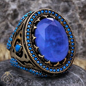 Men Natural Paraiba Tourmaline Huge Ring Blue Gemstone Anniversary Husband Gift