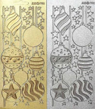 Glitter Christmas Baubles Peel Off Stickers Silver Gold Christmas Card Crafts