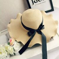 Straw Sun Hat UV Protection Female Panama Hat Women Wide Brim Bow-knot Beach Cap