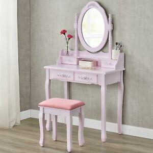 Schminktisch Kosmetiktisch Frisierkommode Kommode mit Hocker rosa pink Juskys®
