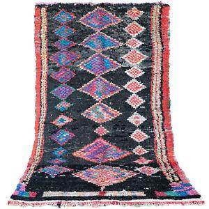 Old Vintage Moroccan Handmade Boujad Boujaad Rug Berber Wool Rug 5 FT X 7.8 FT