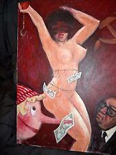 """YURI FATKULIN Soviet Stripper Political Painting 24"""" Baltimore Russian  Artist"""
