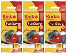 3 Kodak 35mm FunSaver Flash (800 ASA) One Time Use Disposable Camera