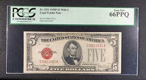 1928 F $5 Legal Tender Red Seal PCGS 66PPQ GEM FR1531 Wide I s/n I39813591A Mr.C