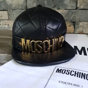 100% Auth NWOT MOSCHINO COUTURE Black quited Leather Gold Letters Baseball Cap S