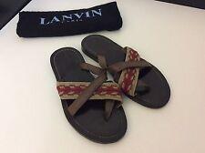 LANVIN Marrón Zapatos Para Hombre Sandalia Correa de Cuero Inteligente en muy buena condición talla 39 Reino Unido 5 Bolsa De Polvo
