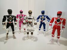 Vintage Bandai 1993 and 1995 Power Rangers 5 Figures with 3 Weapons