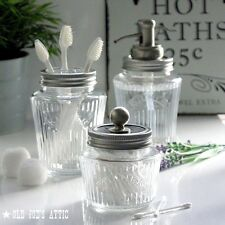 Kilner Vintage Glass Preserve Jar Bath Accessory Set with Nickel Water Well Pump