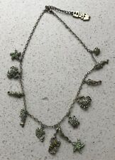 Under the Sea Vintage BUTLER & WILSON Charm Necklace Pale Green Sparkles