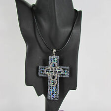 Women Necklace Earring Fashion Faith Large 3D Metallic Black Cross Pendant