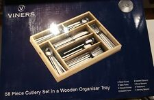 VINERS CAMEO 58 PIECE CUTLERY SET WITH WOODEN ORGANISER TRAY. B/n