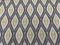 Persian Ikat Grey/Ochre yellow  Linen 140cm wide Curtain/Upholstery Fabric
