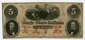 1857 $5 The Bank of the State of INDIANA (CTFT.) Note - Madison Branch