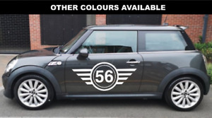 Pair Of Mini Cooper S, Numbered Side Car Stripes Vinyl Graphics Sticker Any Mini