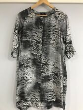 LIFE WITH BIRD Sz 1 Printed Light Silk Dress In Greys Black