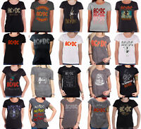 AC/DC T Shirt Womens Rock Or Bust Band Logo About to Rock Official Skinny Fit