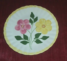 Blue Ridge Pottery Dinner Plate Pink & Yellow Flowers with Yellow Rim Vintage