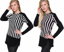 Polyester Long Sleeve Striped Regular Size Tops for Women