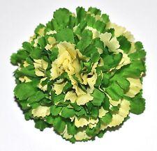 "3"" Green & Yellow Carnation Silk Flower Hair Clip Wedding Handmade"