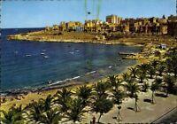 Postkarte Ansichtskarte Ak PK farbig gelaufen The Exiles Beach Sliema Malta