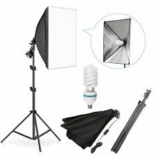 Abeststudio 135W Continuous Lighting Kit Aluminum Alloy Light Stand 50x70cm 5500K Softbox - White/Black