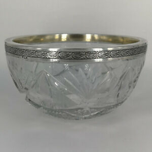 Antique Crystal Bowl With Silver Gear Um 1900
