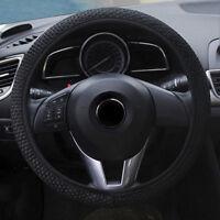 Black Car Steering Wheel Cover Microfiber Gauze Breathable Anti-slip 15''/38cm